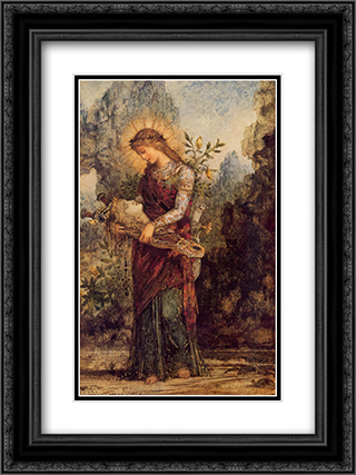 Thracian Girl Carrying the Head of Orpheus 18x24 Black or Gold Ornate Framed and Double Matted Art Print by Gustave Moreau