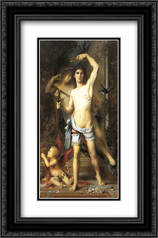 The Young Man and Death 16x24 Black or Gold Ornate Framed and Double Matted Art Print by Gustave Moreau