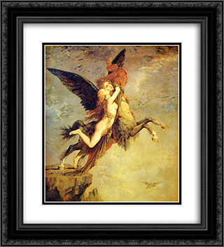 The Chimera 20x22 Black or Gold Ornate Framed and Double Matted Art Print by Gustave Moreau