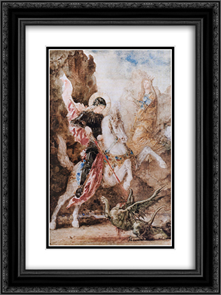 Saint George 18x24 Black or Gold Ornate Framed and Double Matted Art Print by Gustave Moreau