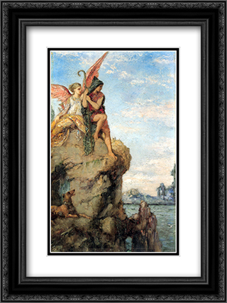 Hesiod and the Muse 18x24 Black or Gold Ornate Framed and Double Matted Art Print by Gustave Moreau