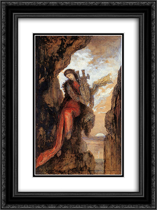 Sappho on the Cliff 18x24 Black or Gold Ornate Framed and Double Matted Art Print by Gustave Moreau