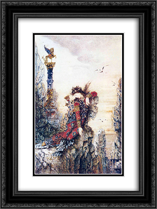 Sappho on the Rocks 18x24 Black or Gold Ornate Framed and Double Matted Art Print by Gustave Moreau