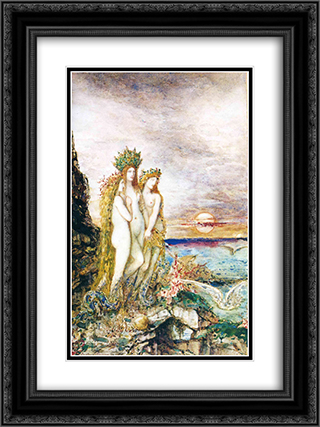 The Sirens 18x24 Black or Gold Ornate Framed and Double Matted Art Print by Gustave Moreau