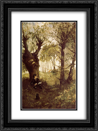 The Old Track to Auvers 18x24 Black or Gold Ornate Framed and Double Matted Art Print by Berthe Morisot