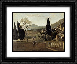 View of Tivoli (after Corot) 24x20 Black or Gold Ornate Framed and Double Matted Art Print by Berthe Morisot