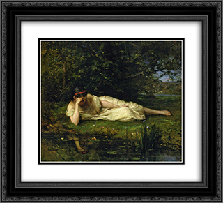 Study, The Water's Edge 22x20 Black or Gold Ornate Framed and Double Matted Art Print by Berthe Morisot
