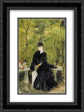 Young Lady Seated on a Bench 18x24 Black or Gold Ornate Framed and Double Matted Art Print by Berthe Morisot