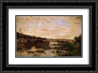 The Seine below the Pont d'Lena 24x18 Black or Gold Ornate Framed and Double Matted Art Print by Berthe Morisot