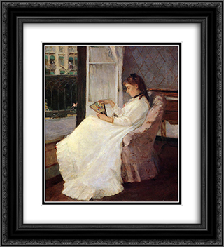 The Artist's Sister at a Window 20x22 Black or Gold Ornate Framed and Double Matted Art Print by Berthe Morisot
