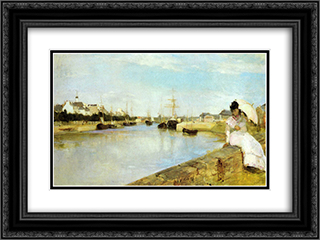 The Harbor at Lorient 24x18 Black or Gold Ornate Framed and Double Matted Art Print by Berthe Morisot