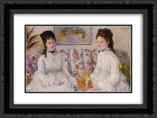 Two Sisters on a Couch 24x18 Black or Gold Ornate Framed and Double Matted Art Print by Berthe Morisot