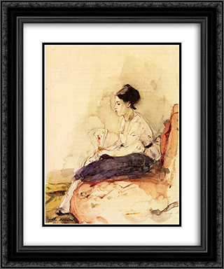 On the Sofa 20x24 Black or Gold Ornate Framed and Double Matted Art Print by Berthe Morisot