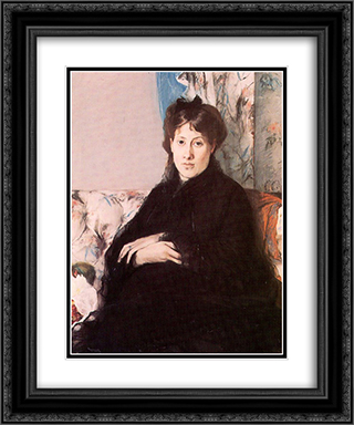 Portrait of Edma Pontillon 20x24 Black or Gold Ornate Framed and Double Matted Art Print by Berthe Morisot