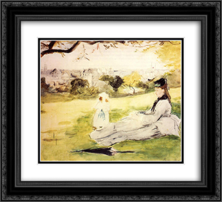 Woman and Child Seated in a Meadow 22x20 Black or Gold Ornate Framed and Double Matted Art Print by Berthe Morisot