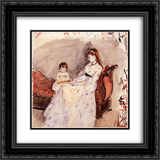 The Artist's Sister Edma with Her Daughter Jeanne 20x20 Black or Gold Ornate Framed and Double Matted Art Print by Berthe Morisot