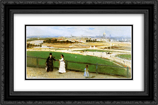 View on Paris Sun 24x16 Black or Gold Ornate Framed and Double Matted Art Print by Berthe Morisot