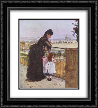 Woman and child on the balcony 20x22 Black or Gold Ornate Framed and Double Matted Art Print by Berthe Morisot