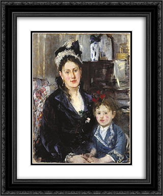 Mme Boursier and Her Daughter 20x24 Black or Gold Ornate Framed and Double Matted Art Print by Berthe Morisot
