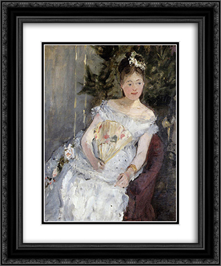 Portrait of Marguerite Carre (also known as Young Girl in a Ball Gown) 20x24 Black or Gold Ornate Framed and Double Matted Art Print by Berthe Morisot