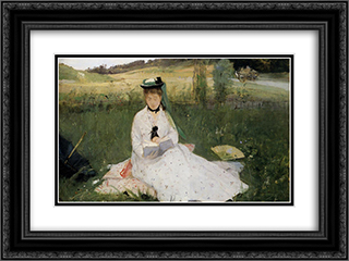 Reading with Green Umbrella 24x18 Black or Gold Ornate Framed and Double Matted Art Print by Berthe Morisot
