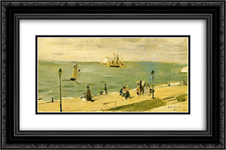 The Beach at Petit Dalles (aka On the Beach) 24x16 Black or Gold Ornate Framed and Double Matted Art Print by Berthe Morisot