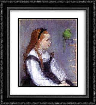 Young Girl with a Parrot 20x22 Black or Gold Ornate Framed and Double Matted Art Print by Berthe Morisot