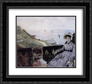 On the Terrace 22x20 Black or Gold Ornate Framed and Double Matted Art Print by Berthe Morisot