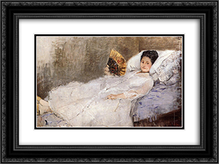 Portrait of Madame Hubbard 24x18 Black or Gold Ornate Framed and Double Matted Art Print by Berthe Morisot