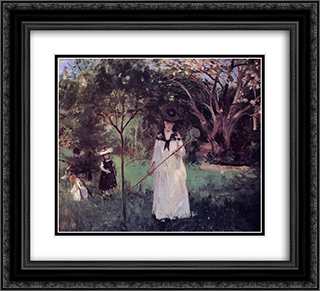 The Butterfly Hunt 22x20 Black or Gold Ornate Framed and Double Matted Art Print by Berthe Morisot