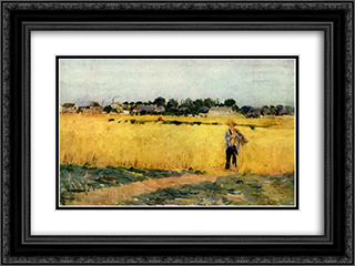 In the Wheatfield at Gennevilliers 24x18 Black or Gold Ornate Framed and Double Matted Art Print by Berthe Morisot