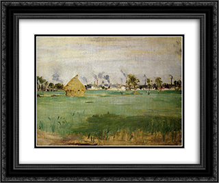 Landscape at Gennevilliers 24x20 Black or Gold Ornate Framed and Double Matted Art Print by Berthe Morisot