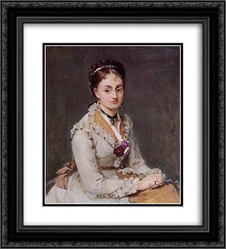 Portrait of the Artist's Sister, Mme Edma Pontillon, c.1872-75 20x22 Black or Gold Ornate Framed and Double Matted Art Print by Berthe Morisot