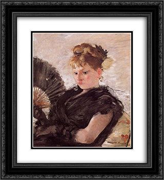 Woman with a Fan (aka Head of a Girl) 20x22 Black or Gold Ornate Framed and Double Matted Art Print by Berthe Morisot