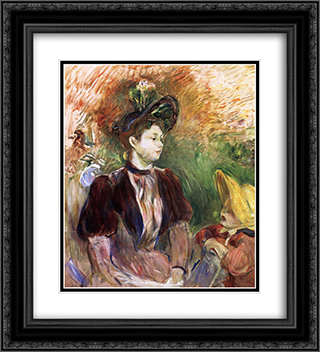 Young Woman and Child, Avenue du Bois 20x22 Black or Gold Ornate Framed and Double Matted Art Print by Berthe Morisot
