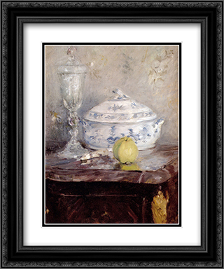 Tureen And Apple 20x24 Black or Gold Ornate Framed and Double Matted Art Print by Berthe Morisot