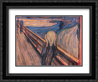 The Scream 24x20 Black or Gold Ornate Framed and Double Matted Art Print by Edvard Munch