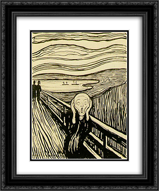 The Scream 20x24 Black or Gold Ornate Framed and Double Matted Art Print by Edvard Munch