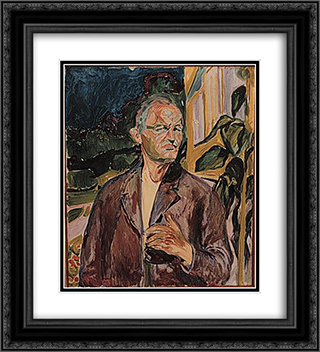 Self-Portrait 20x22 Black or Gold Ornate Framed and Double Matted Art Print by Edvard Munch