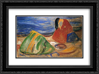 Melancholy 24x18 Black or Gold Ornate Framed and Double Matted Art Print by Edvard Munch