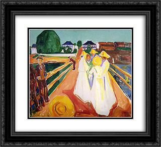 Women on the Bridge 22x20 Black or Gold Ornate Framed and Double Matted Art Print by Edvard Munch