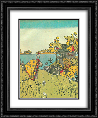 Illustration to 'The crane and heron. Bear.' 20x24 Black or Gold Ornate Framed and Double Matted Art Print by Heorhiy Narbut