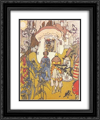 Illustration to the fairy tale 'The War of mushrooms' 20x24 Black or Gold Ornate Framed and Double Matted Art Print by Heorhiy Narbut