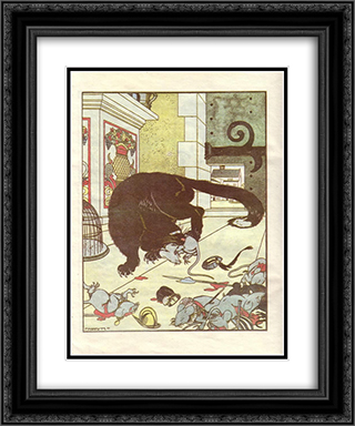 Illustration for the book 'How mice buried the cat' by Zhukovsky 20x24 Black or Gold Ornate Framed and Double Matted Art Print by Heorhiy Narbut