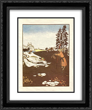 Illustration. 'Fairy Tales: Teremok. Mizgir'. 20x24 Black or Gold Ornate Framed and Double Matted Art Print by Heorhiy Narbut
