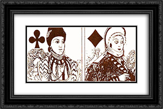 Playing cards 24x16 Black or Gold Ornate Framed and Double Matted Art Print by Heorhiy Narbut