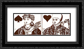 Playing cards 24x14 Black or Gold Ornate Framed and Double Matted Art Print by Heorhiy Narbut