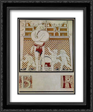 Sheet 'B' from the album 'Ukrainian alphabet' 20x24 Black or Gold Ornate Framed and Double Matted Art Print by Heorhiy Narbut