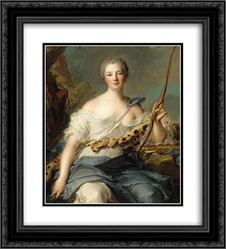Marquise de Pompadour as Diana 20x22 Black or Gold Ornate Framed and Double Matted Art Print by Jean Marc Nattier