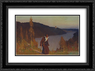 Silence 24x18 Black or Gold Ornate Framed and Double Matted Art Print by Mikhail Nesterov